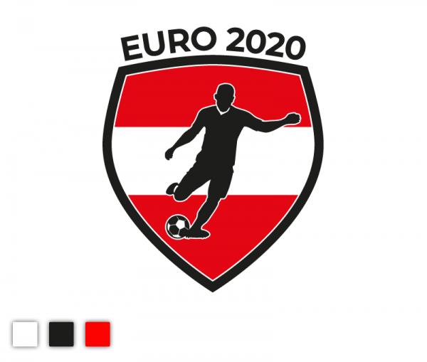 """Autosticker """"Euro 2020"""" Fußball Österreich Edition 3-färbig konturgeschnitten in Premiumqualität"""
