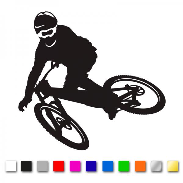 Autosticker Mountainbiker - Freerider in verschiedenen Farben und Größen konturgeschnitten aus Premium Autofolie