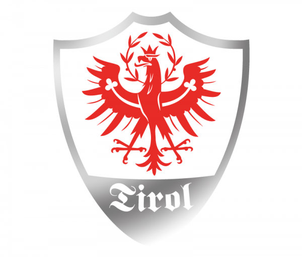 Autosticker Tiroler Adler Wappen konturgeschnitten bicolor rot glänzend und Chrom Spiegelfolie