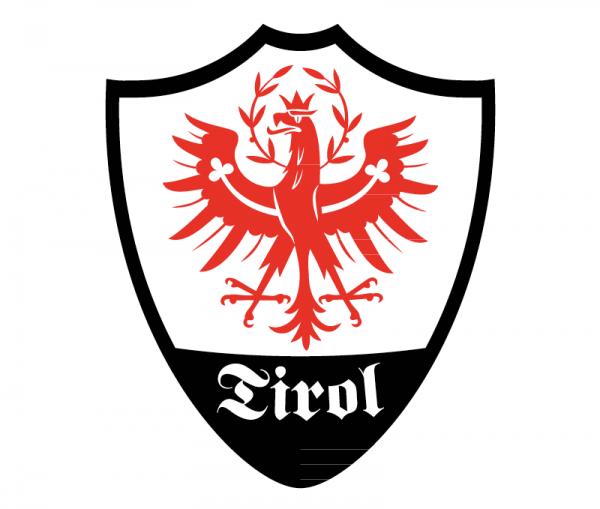 Tiroler Adler Autosticker konturgeschnitten - bicolor rot und schwarz glänzend
