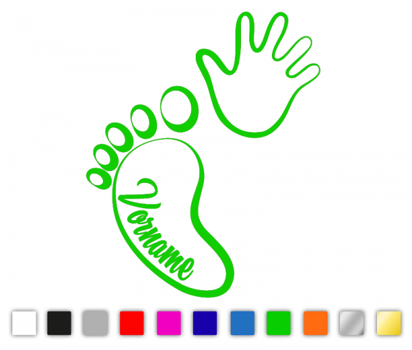 Baby Hand Fuß Autosticker konturgeschnitten aus Premium Autofolie