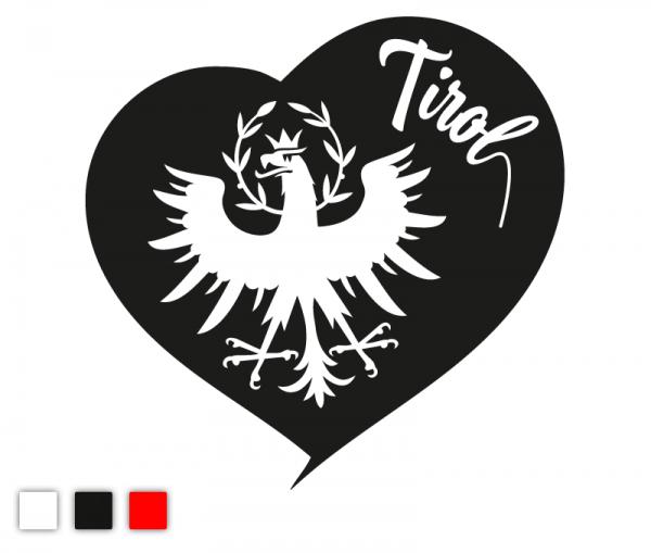 Tirol Liebe Autosticker mit Herz,Tiroler Adler und Schriftzug Tirol