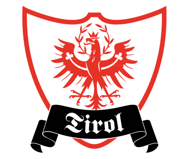 Autosticker Tirol Wappenschild mit Tiroler Adler bicolor rot glänzend und schwarz glänzend