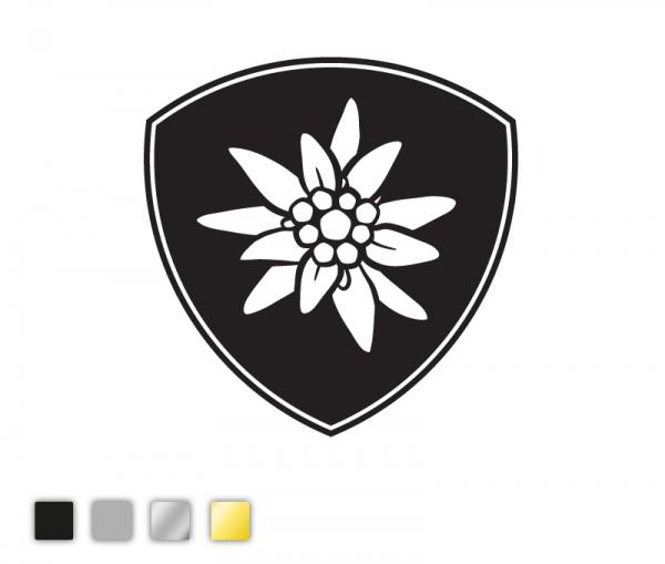 Autosticker Edelweiß-Schild konturgeschnitten aus Premiumautofolie in vier Farben