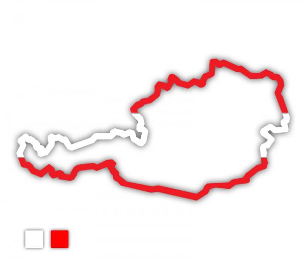 Autoaufkleber Österreich Landkarte Kontur rot - weiß - rot
