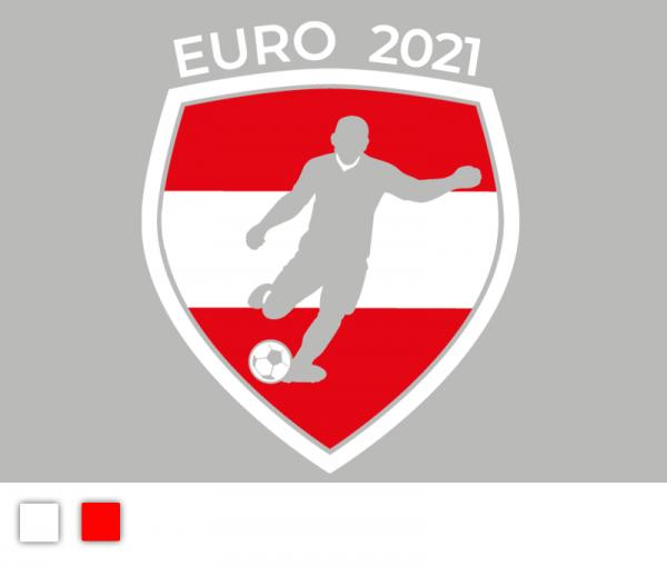 """Autosticker """"Fußball EM 2021"""" Fußball Österreich Edition 2-färbig konturgeschnitten in Premiumqualität"""