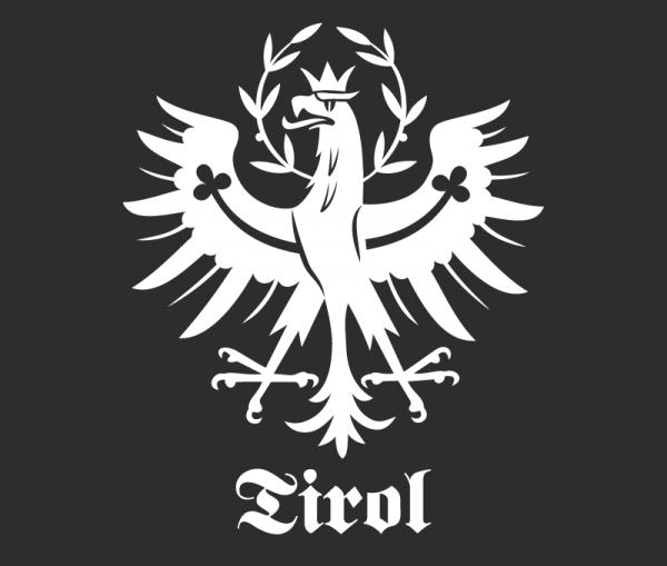 Autosticker Tiroler Adler 1-färbig weiß glänzend mit Schriftzug Tirol weiß glänzend