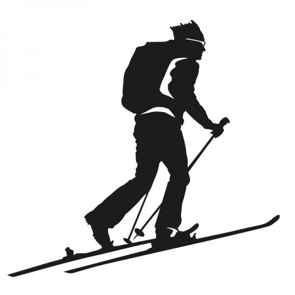 Skibergsteiger / Skitourengeher Autoaufkleber aus Premium Autofolie