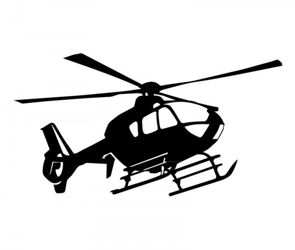 Autoaufkleber Hubschrauber konturgeschnitten aus Premium-Autofolie in verschiedenen Größen konfigurierbar