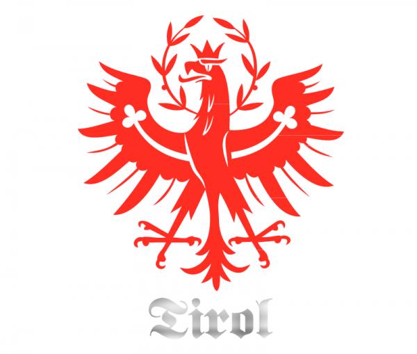 Tiroler Adler Autosticker bicolor rot glänzend und Chrom Spiegelfolie