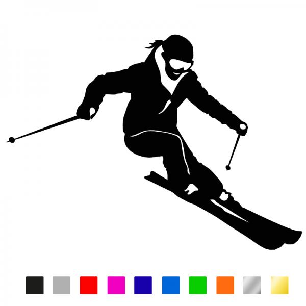 Auto Sticker Skifahrerin konturgeschnitten aus Premiumautofolie in vielen Farben