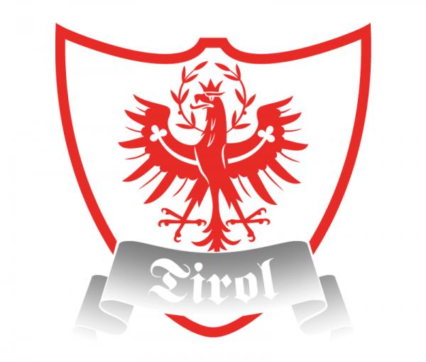 Autosticker Tirol Wappenschild mit Tiroler Adler bicolor rot glänzend und Spiegelfolie Chrom