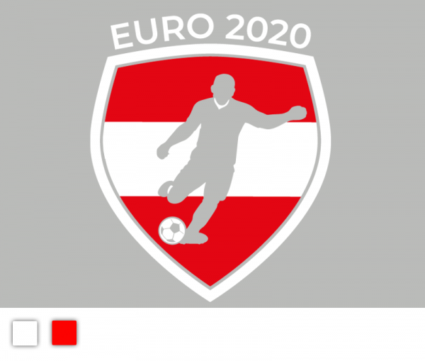 """Autosticker """"Fußball EM 2020"""" Österreich Edition 2-färbig konturgeschnitten in Premiumqualität"""