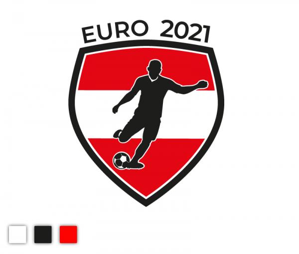 """Autosticker """"Euro 2021"""" Fußball Österreich Edition 3-färbig konturgeschnitten in Premiumqualität"""